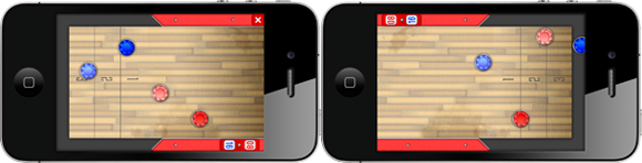 Two phones playing Ultimate Shuffleboard
